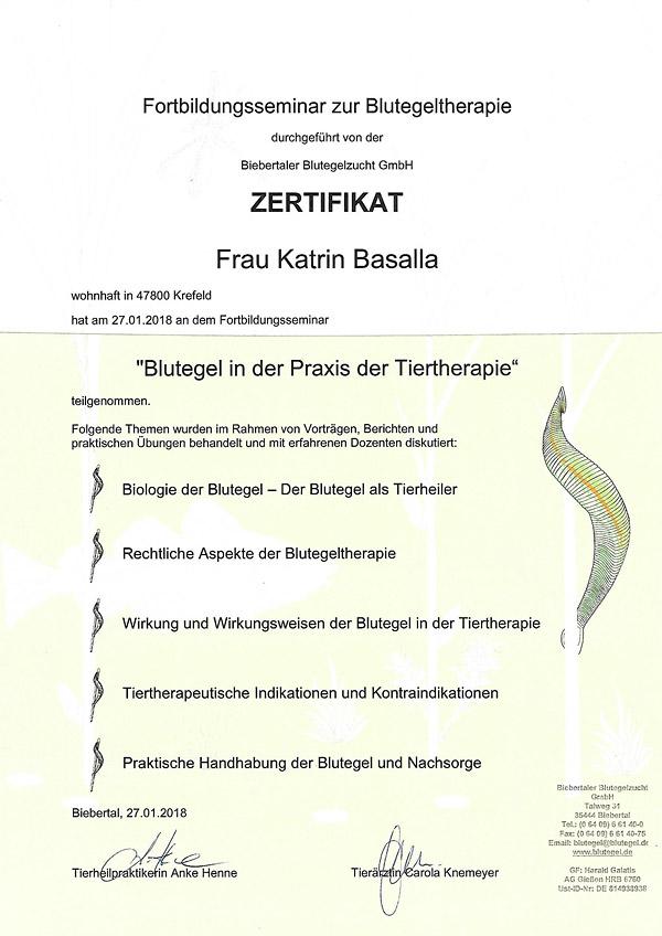 Katrin Weyers (geb. Basalla) - Zertifikat - Blutegel in der Praxis der Tiertherapie