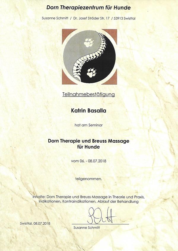 Teilnahmebescheinigung Dorn-Therapie und Breuss Massage